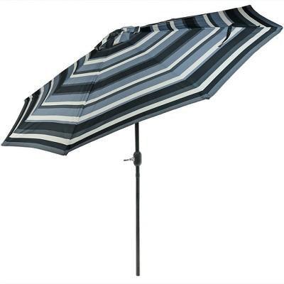 Aluminum Market Tilt Striped Patio Umbrella 9u0027   Catalina Beach Stripe  Black/White/Gray   Sunnydaze Decor