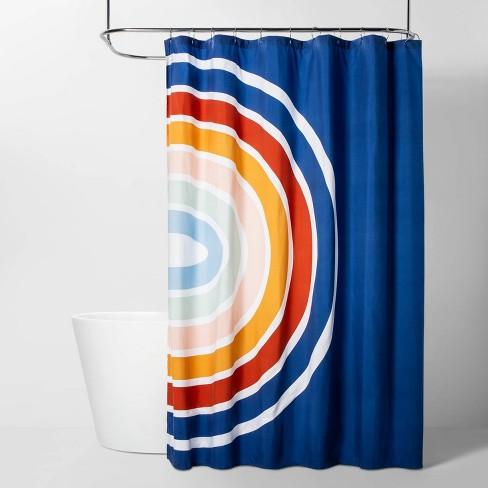 Rainbow Shower Curtain Blue Room