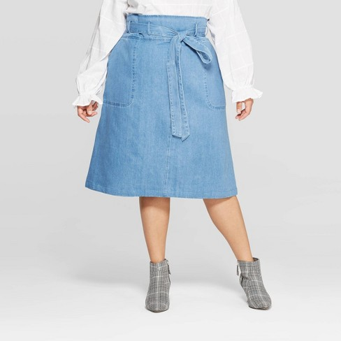 96a651c78e Women s Plus Size Duo Front Pocket Belted Denim Midi Skirt - Who What Wear™  Blue   Target