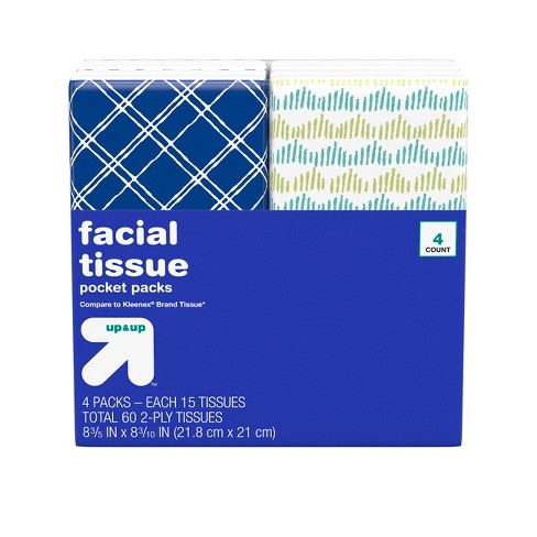 Facial Tissue Pocket Pack - 4ct - Up&Up™ (Compare to Kleenex® Brand Tissue) - image 1 of 4