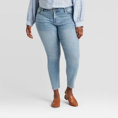 Women's Plus Size Vintage Skinny Jeans - Ava & Viv™ Light Wash