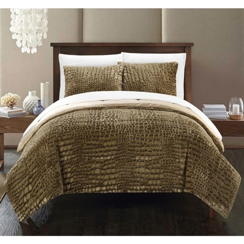 3pc Queen Caimani Comforter Set Gold - Chic Home Design