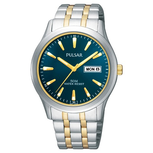 Men's Pulsar Lumibrite Calendar Watch - Two Tone with Blue Dial - PXN197X - image 1 of 1