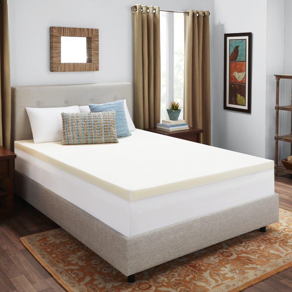 "Image of ""3"""" Memory Foam Mattress Topper (California King) White - Authentic Comfort, Beige"""