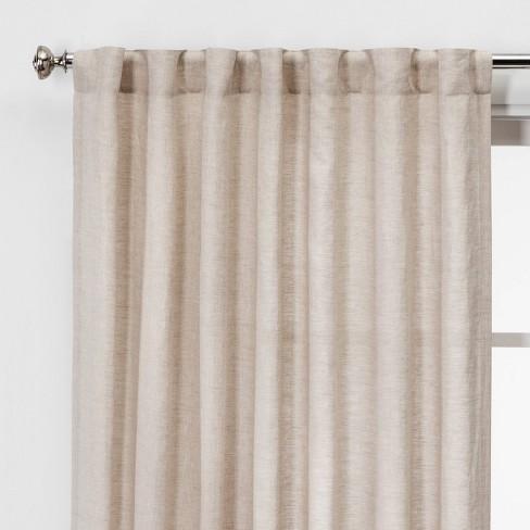 "84""x54"" Linen Light Filtering Window Curtain Panel Natural - Threshold™ - image 1 of 4"