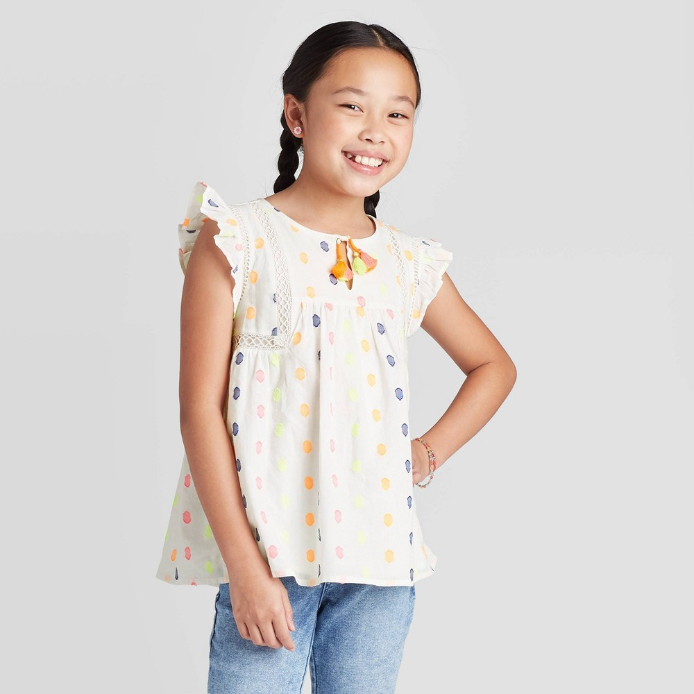 Image of Girls' Flutter Sleeve Dots Blouse - Cat & Jack White S, Girl's, Size: Small, Beige