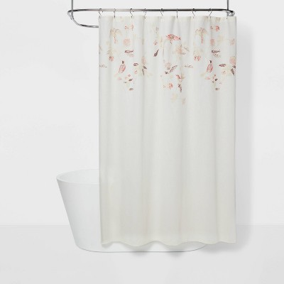 Engineered Floral Shower Curtain Shadow Rose - Threshold™