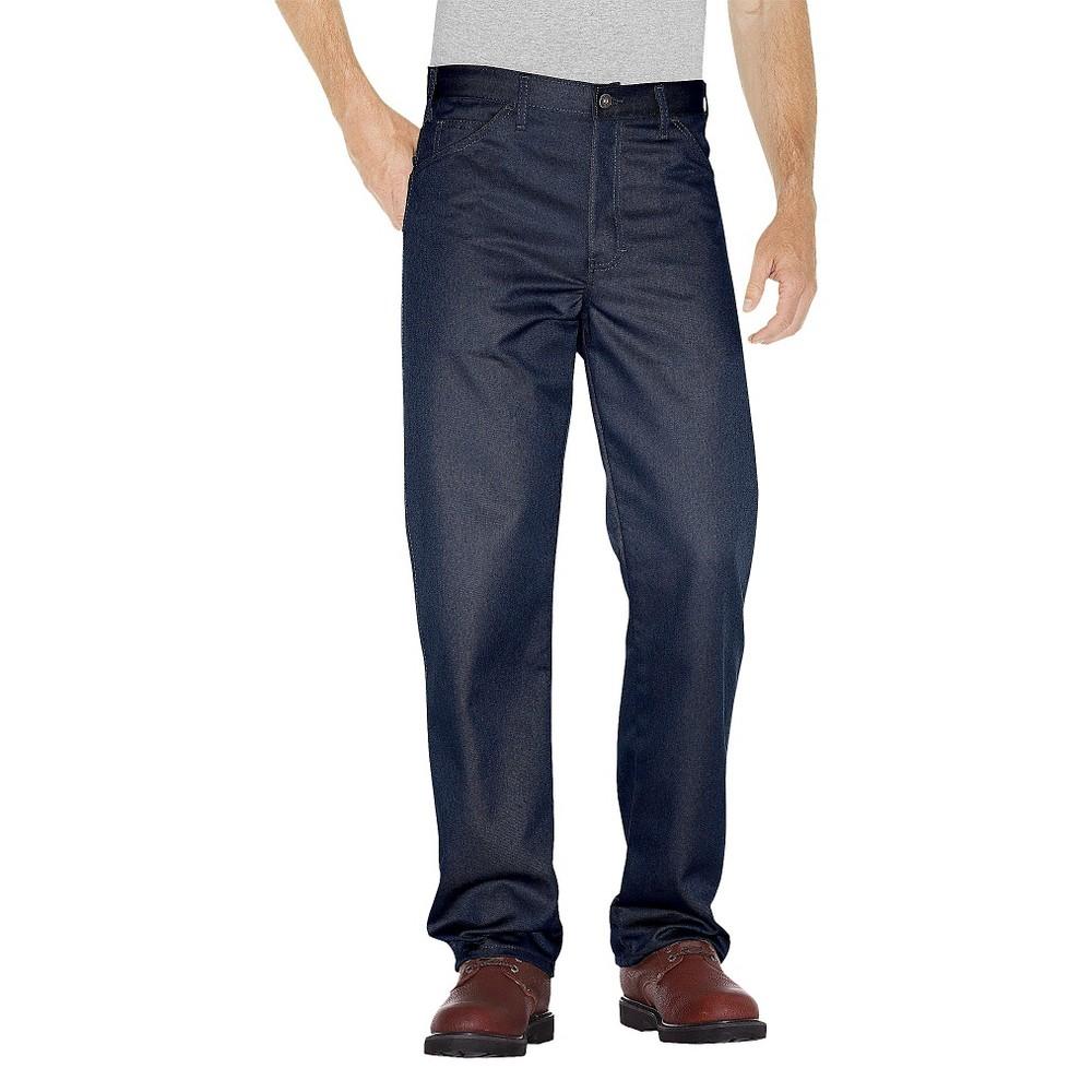 Dickies Men's Big & Tall Regular Straight Fit Twill 5- Pocket StayDark Work Pants- Dark Navy 46X30