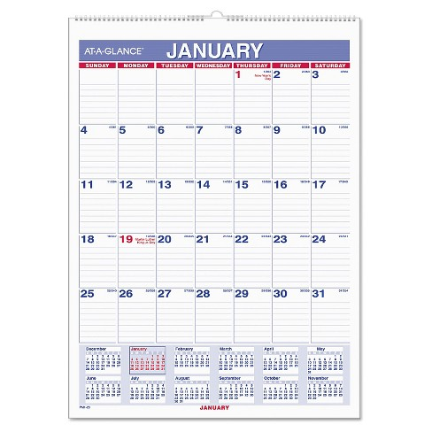 AT-A-GLANCE® Monthly Wall Calendar with Ruled Daily Blocks 8 x 11 White 2018 - image 1 of 1