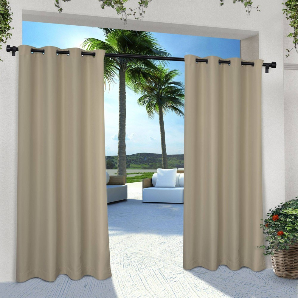 Set Of 2 96 34 X54 34 Solid Cabana Grommet Top Light Filtering Curtain Panel Taupe Exclusive Home