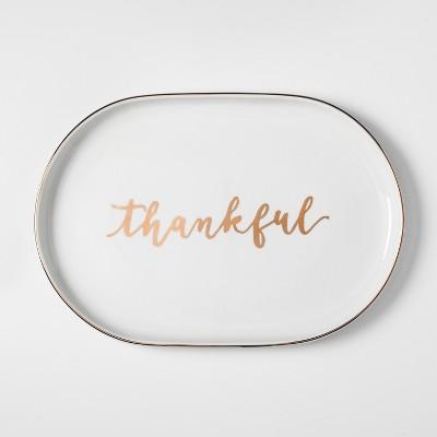 Thankful Porcelain Serving Platter 19 x13  - White/Gold - Threshold™