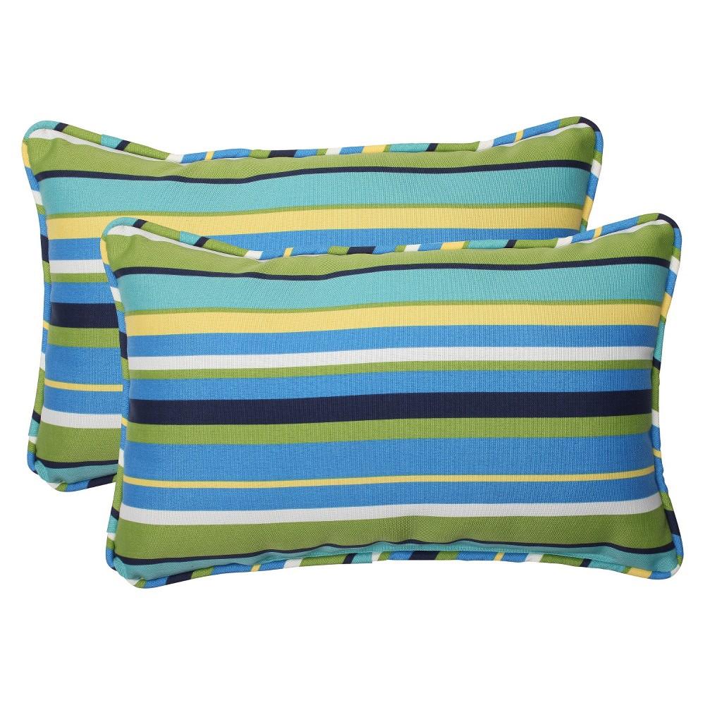Pillow Perfect 2 Piece Outdoor Lumbar Pillows Topanga Stripe