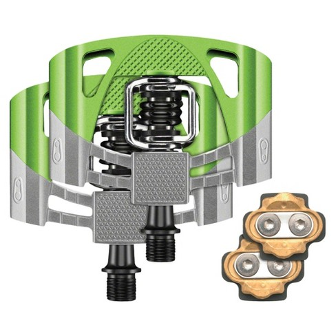 NEW Crank Brothers  Mallet 2 Bike Pedals Raw Green w Black Spring