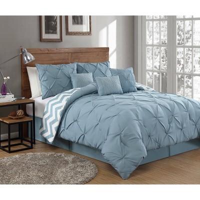 7pc Queen Ella Pinch Pleat Comforter Set Spa Blue - Geneva Home Fashion