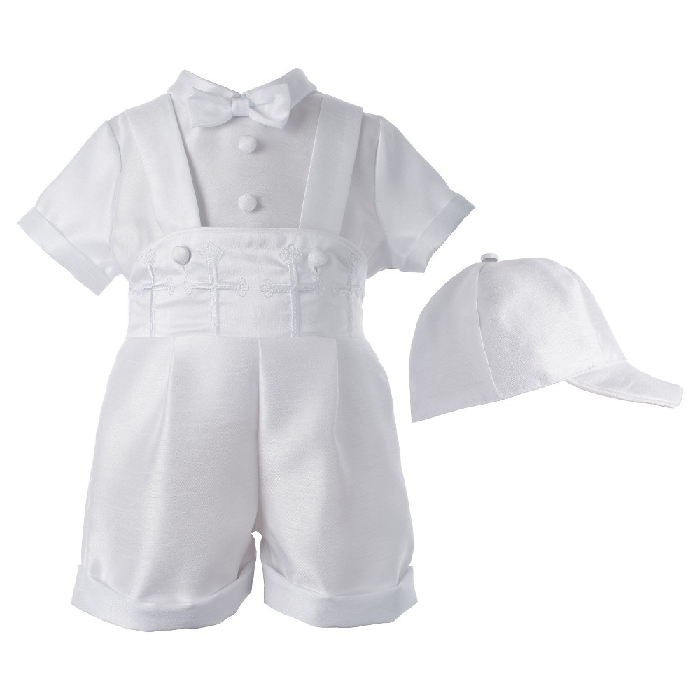 Small World Baby Boys' Short Set with Embroidered Crosses - White 9-12 M, Size: 9-12M