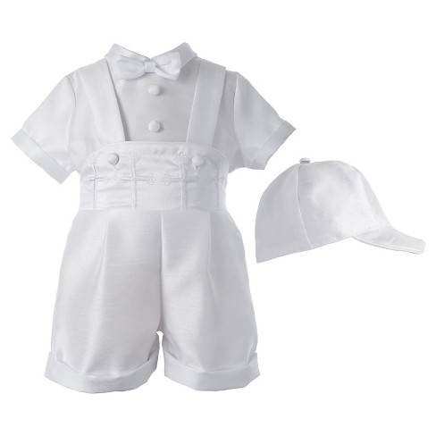 Small World Baby Boys' Short Set with Embroidered Crosses - White 9-12 M - image 1 of 1