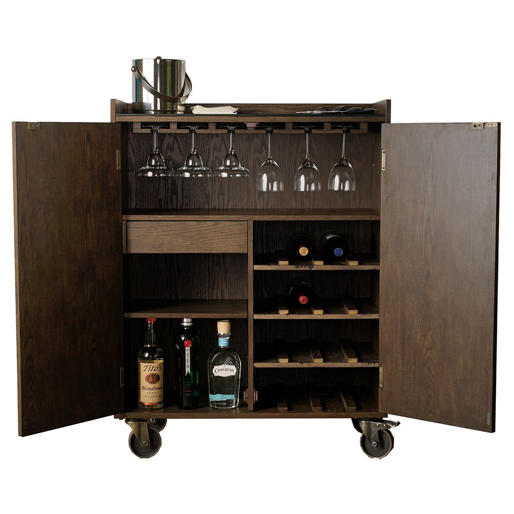 Smith Bar Cabinet - Burnish Wood - Haven Home, Brown