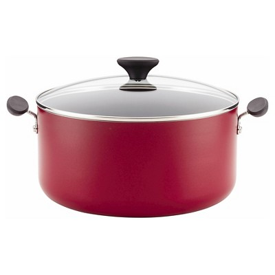 Farberware Reliance 10qt Aluminum Nonstick Wide Stock Pot Red