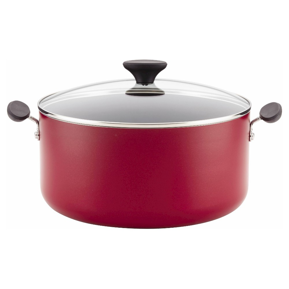 Image of Farberware Reliance 10qt Aluminum Nonstick Wide Stock Pot Red