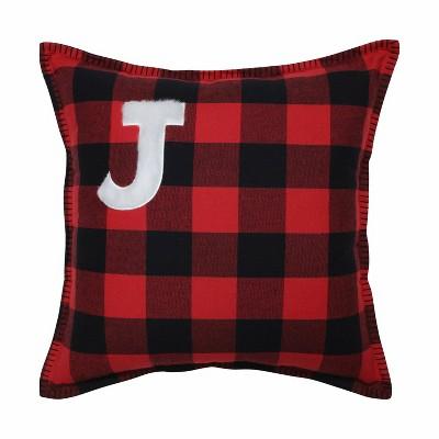 "17""x17"" Buffalo Plaid 'J' Throw Pillow Red/Black - Pillow Perfect"