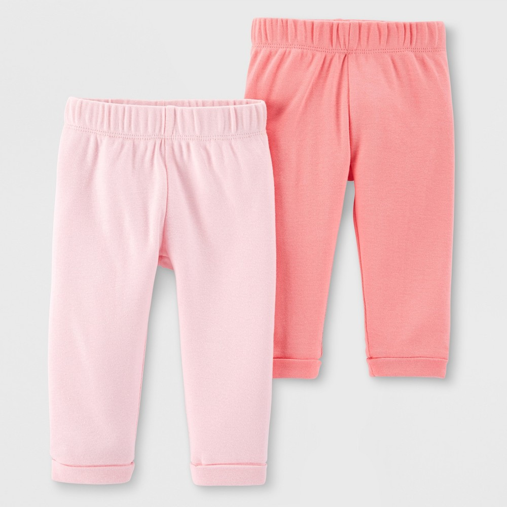 Little Planet Organic by carter's Baby Girls' 2pk Leggings - Peach/Pink 9M