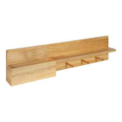 """36"""" Astora Wood Shelf with Pocket and Hooks - Kate & Laurel All Things Decor"""