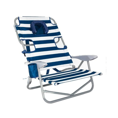 Tremendous Ostrich On Your Back Outdoor Lounge 5 Position Recline Beach Chair Striped Blue Caraccident5 Cool Chair Designs And Ideas Caraccident5Info