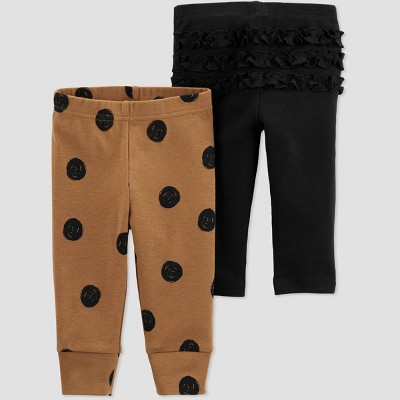 Baby Girls' 2pk Polka Dot Pull-On Pants - Just One You® made by carter's Black/Brown Newborn