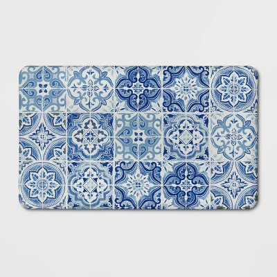 "30""x18"" Tile Comfort Kitchen Mat Blue - Threshold™"