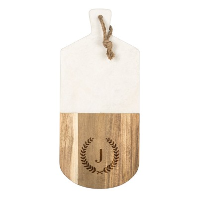 Cathy's Concepts Monogrammed Marble & Acacia Serving Board J