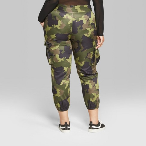 on feet images of enjoy big discount uk cheap sale Women's Plus Size Camo Print Cargo Pants - Wild Fable™ Green 16W
