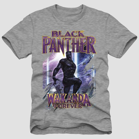Men's Disney Black Panther 'Wakanda Forever' Short Sleeve T-Shirt - Heather Gray - image 1 of 1