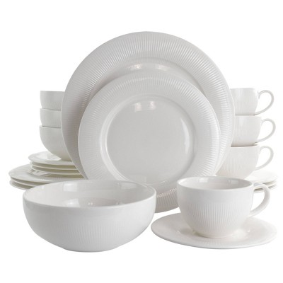 16pc Porcelain Pallene Dinnerware Set White - Elama
