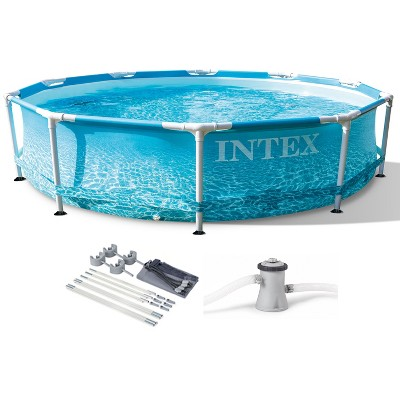 Intex 28207EH 10 Feet x 30 Inch Metal Frame Outdoor Backyard Above Ground Circular Beachside Swimming Pool with Filter Pump and Protective Canopy