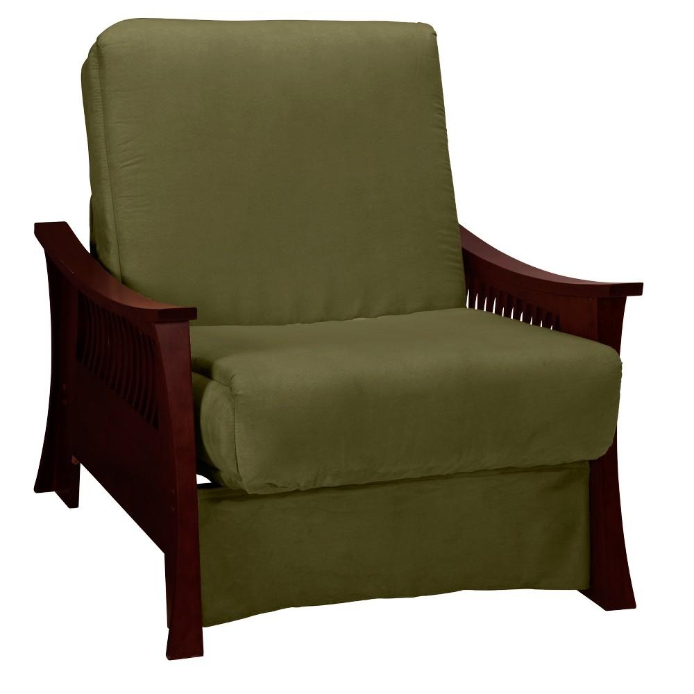 Shanghai Perfect Futon Sofa Sleeper - Mahogany Wood Finish - Epic Furnishings, Olive Heather