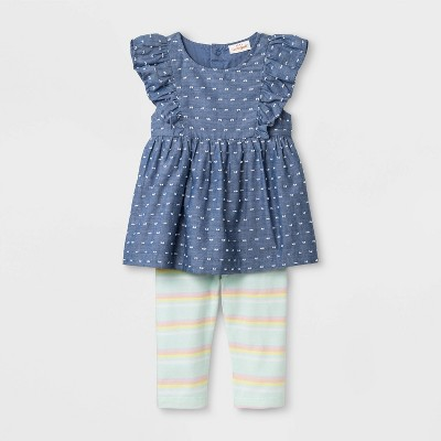 Baby Girls' Faux Denim Tunic and Stripe Leggings - Cat & Jack™ Blue/Green 6-9M