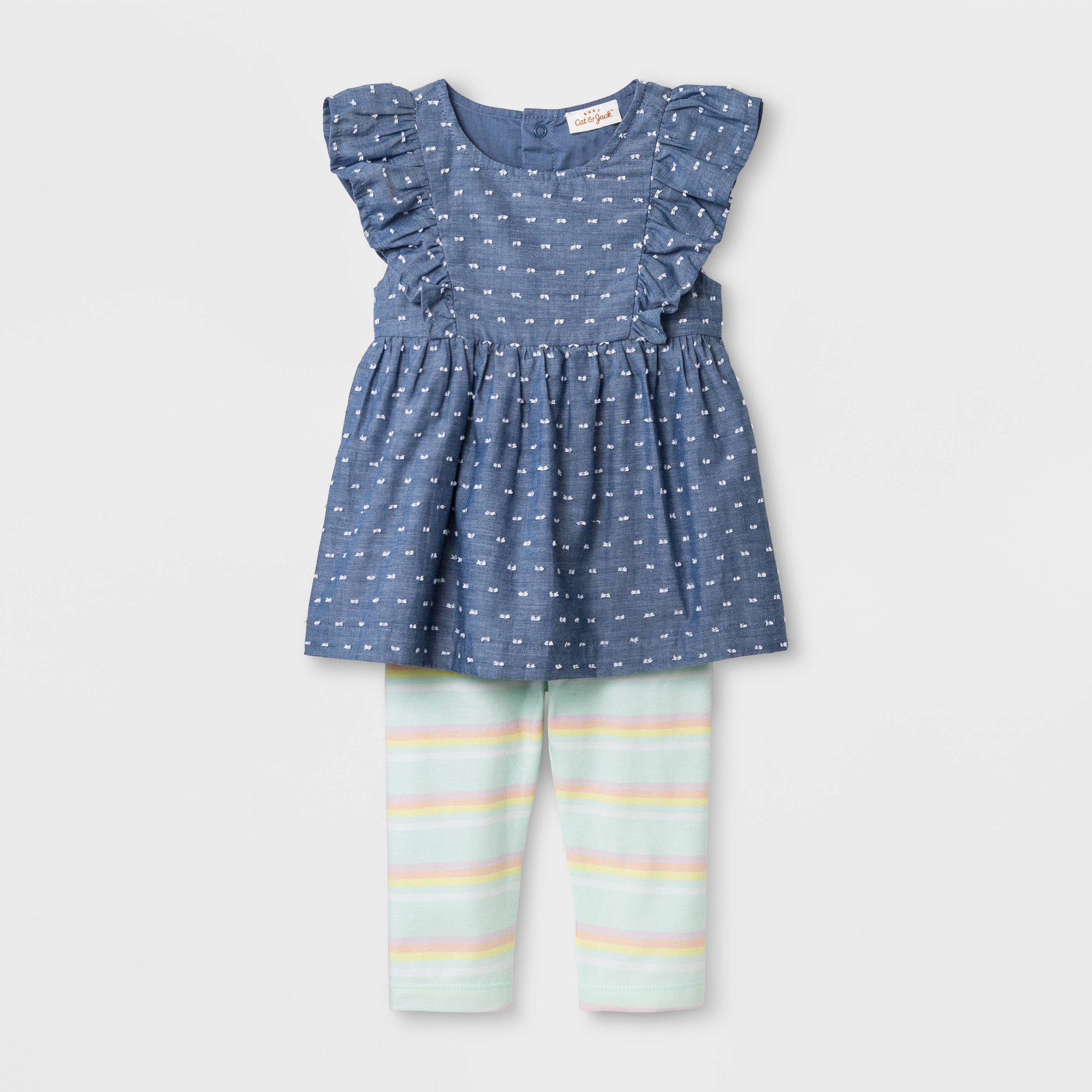 Baby Girls' Faux Denim Tunic and Stripe Leggings - Cat & Jack Blue/Green 24M