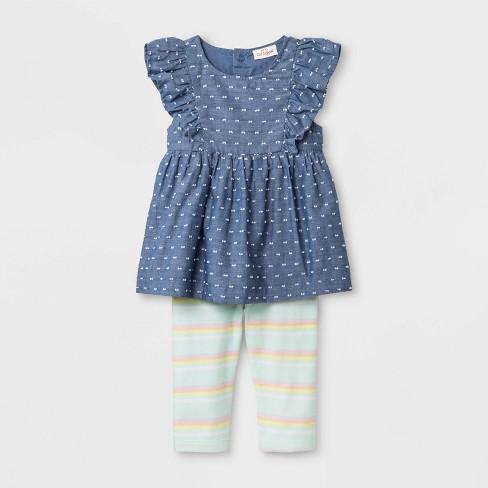50850c2f5309 Baby Girls  Faux Denim Tunic and Stripe Leggings - Cat   Jack™ Blue Green