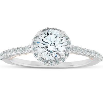 Pompeii3 1 3/8Ct Diamond & Moissanite Halo Two Tone Engagement Ring 14k Rose & White Gold