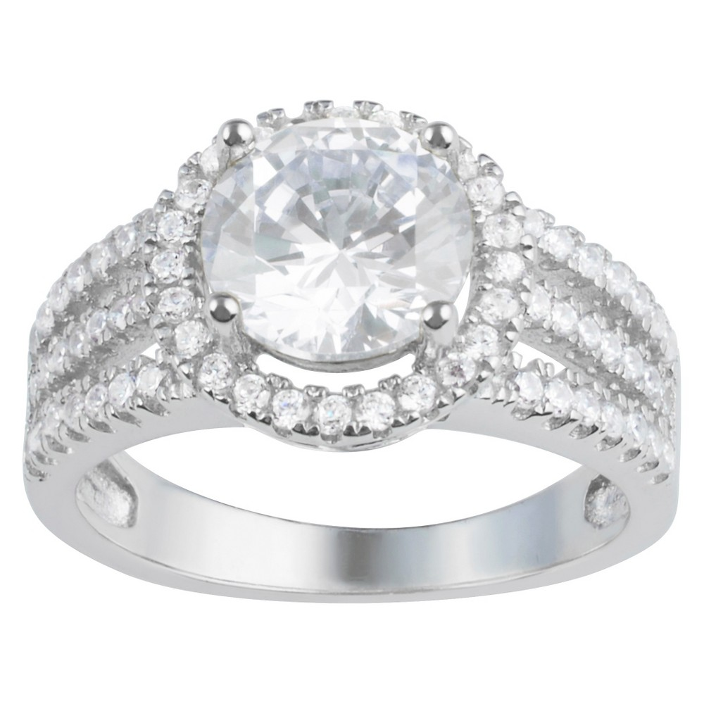 3 3/4 CT. T.W. Round-Cut CZ Basket Set Halo Fashion Ring in Sterling Silver - White, 8, Girl's