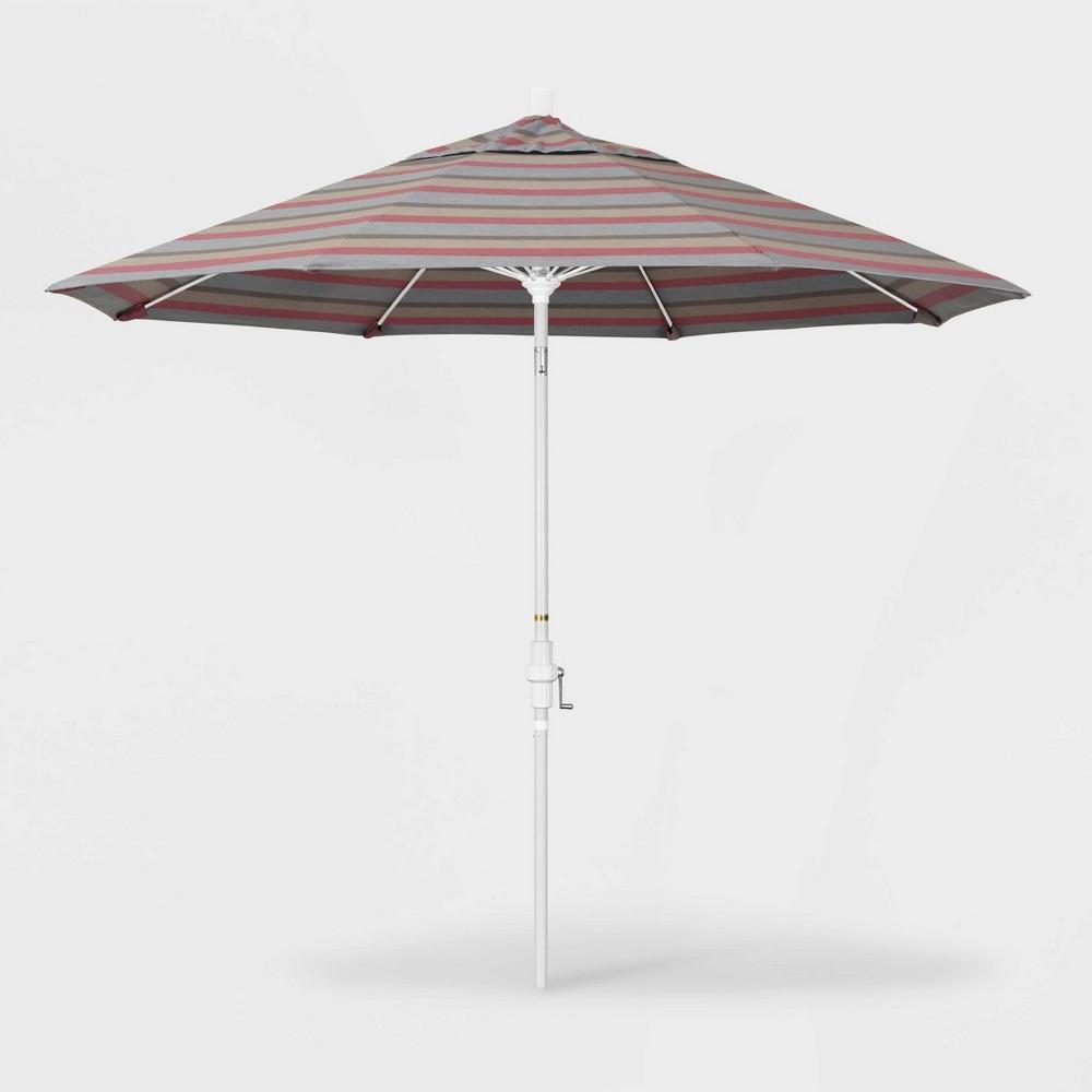 9' Sun Master Patio Umbrella Collar Tilt Crank Lift - Sunbrella Gateway Blush - California Umbrella