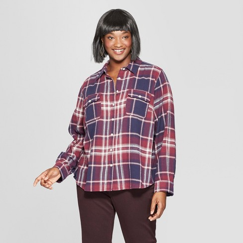 550be6b4 Women's Plus Size Plaid Long Sleeve Flannel Shirt - Universal Thread™ Red