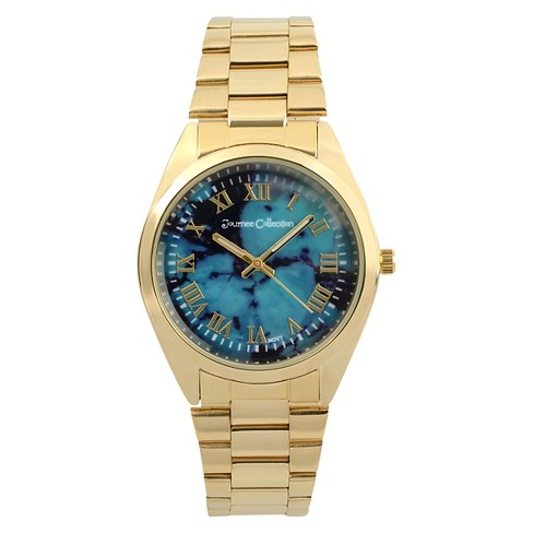 Women's Journee Collection Round Face Shell Dial Link Watch - Turquoise - image 1 of 2