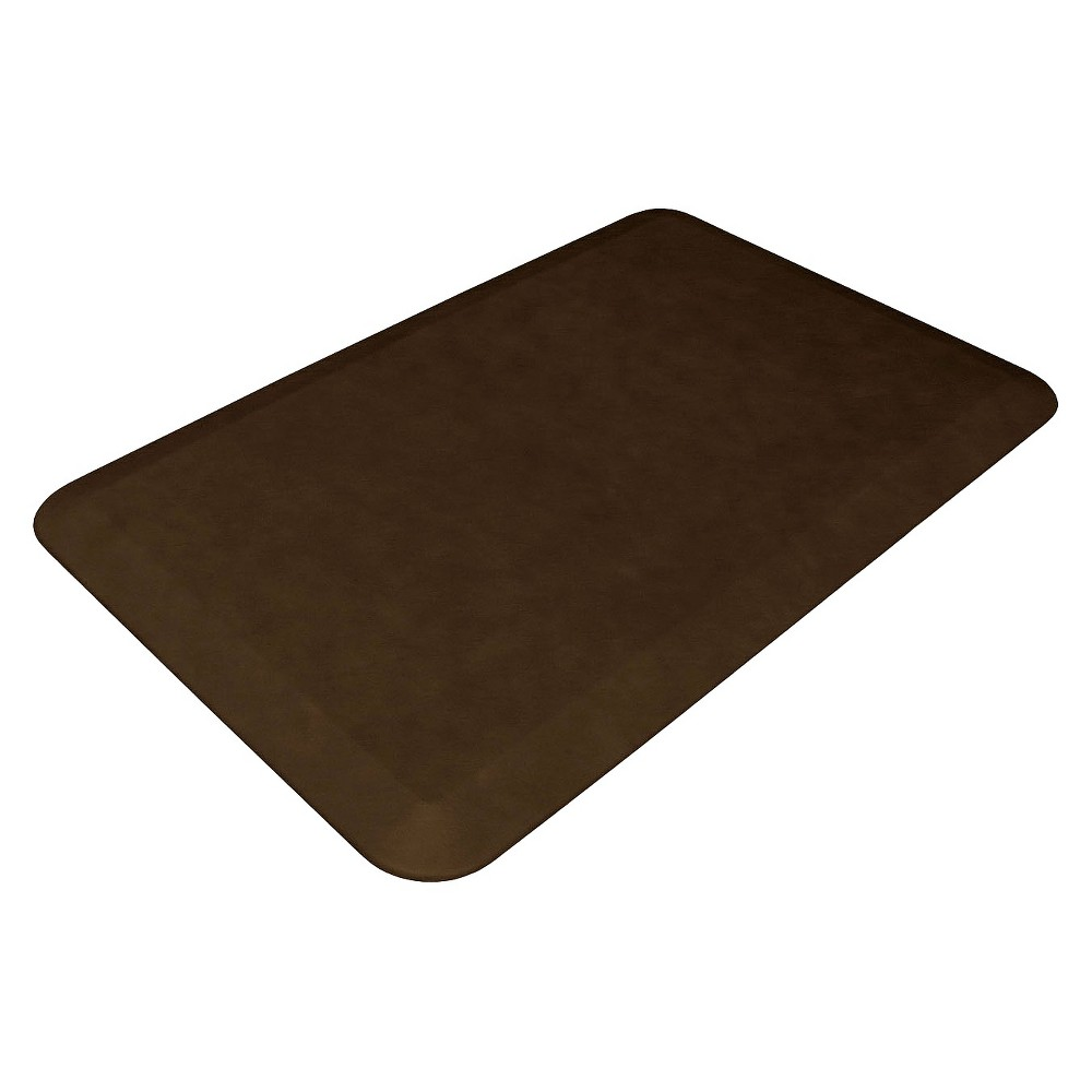 "Image of ""Brown Leather Grain Comfort Kitchen Mat 20""""x32""""- Newlife By Gelpro, Dark Brown"""