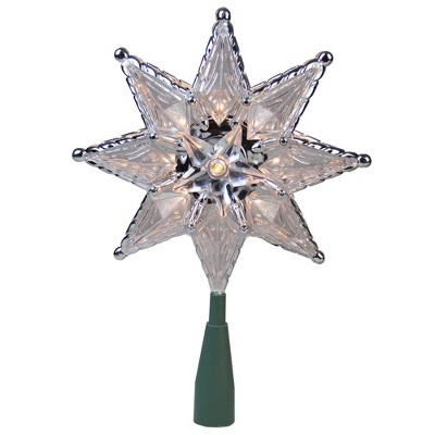 "Northlight 8"" Silver Mosaic Star Lighted Christmas Tree Topper - Clear Lights"
