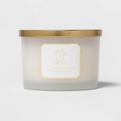 15oz Glass Jar Candle Vanilla Gingerbread Candle White - Threshold™