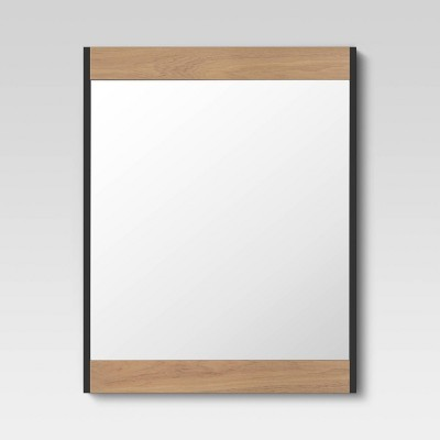 "20.5""x26"" Vertical Panel Natural Wood Mirror Black - Project 62™"