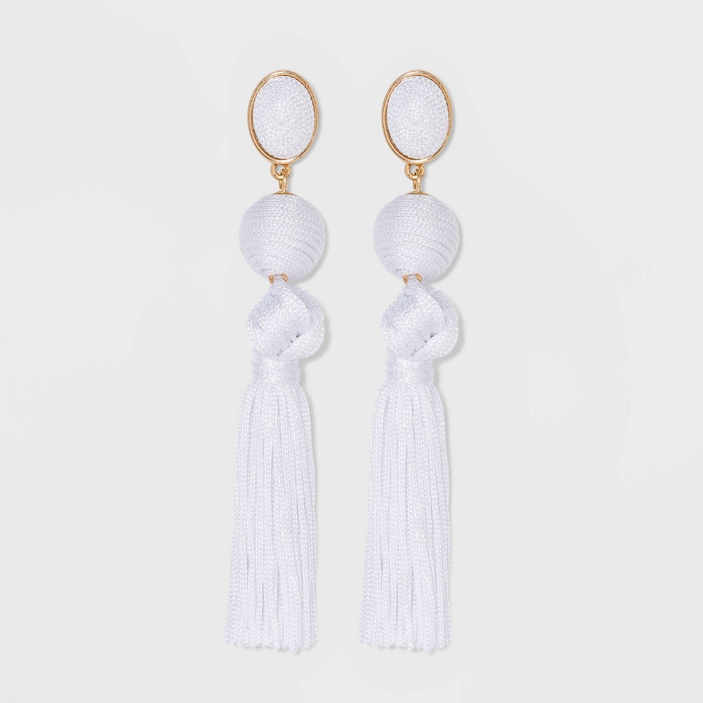Image of SUGARFIX by BaubleBar Ball Drop Tassel Earrings - White, Women's, Size: Small