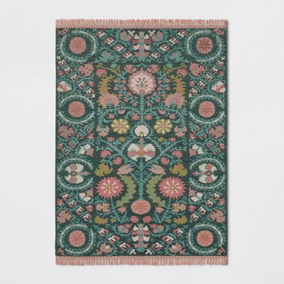 5'X7' Indoor/Outdoor Floral Woven Area Rug Teal - Opalhouse™