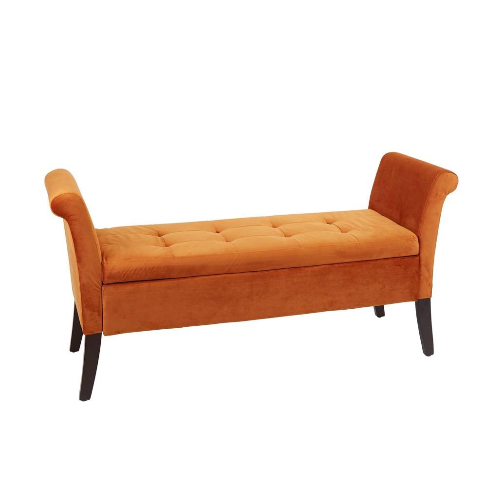 Curved Arm Storage Bench Spice Orange - Silverwood